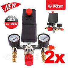 2X 120PSI Air Compressor Pressure Switch Control Valve Manifold Regulator Gauges