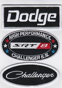 DODGE CHALLENGER SRT8 6.1L SEW/IRON ON PATCH EMBROIDERED HEMI MOPAR PERFORMANCE