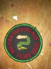VINTAGE NAUGHTY NOVELTY EMBROIDERED PATCH SEX YOU CAN HOLD THE KEY TO MY HARD