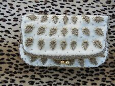 Vintage Hand Beaded Champagne Satin Clutch Handbag Purse Made In Hong Kong Great