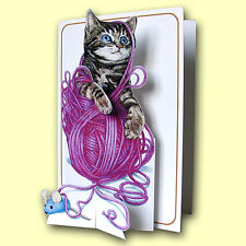 Pictoria Press Imported 3D Greeting Card - KITTEN & BALL OF WOOL - #PIC-203