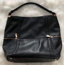 Black Faux Suede Large Hobo Shoulder Bag
