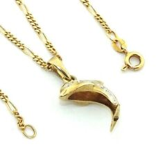 """Women's Ladies 9ct 9carat gold dolphin pendant set with CZ stones and 16"""" chain"""