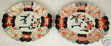 Pair Antique Japanese Imari Plate Platter Hand Painted 13-1/2 x 10-3/4 inch
