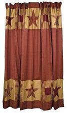 New Primitive Country Farmhouse Bath Burgundy Tan Nine Patch Star Shower Curtain