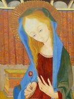 VIRGIN MARY. OIL ON WOOD. SIGNED JORDI ALUMÁ. SPAIN. CIRCA 1950