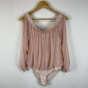 Forever New Womens Bodysuit Size M Medium Pink Off Shoulder Long Sleeve 213.34