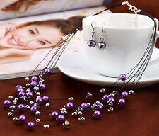 Multi-hilo Flotante Púrpura Collar De Perlas Y Aretes