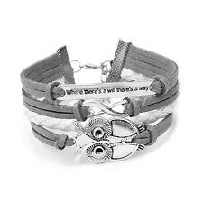 Trendy Infinity Owl Friendship Leather Cute Charm Couples Bracelet Bangle Hot