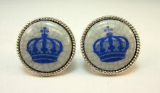 SILVER TONE CRACKLED STONE BLUE CROWN CUFF LINKS DENMARK *