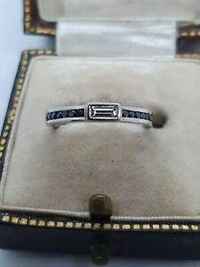 Palladium Emerald Cut Diamond Ring With Black Diamond Shoulders