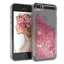 Für Apple iPhone 5 5S SE Glitzer Hülle Flüssig Silikon Case Handy Cover Rosa
