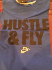 NIKE COTTON GRAPHIC T-SHIRT MEN XXL BLUE 'HUSTLE & FLY' LOGO GRAPHIC NWT NEW