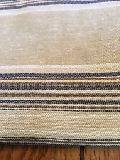 Fabric Cotton decor nautical Taupe navy white cotton stripe 6 yards 54""