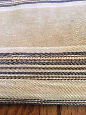 "Fabric Cotton decor nautical Taupe navy white cotton stripe 6 yards 54"""