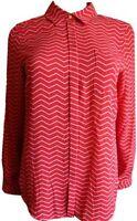 New Ex M&S Ladies Red Chevron Chiffon No Peep Long Sleeve Blouse Size 10 - 18
