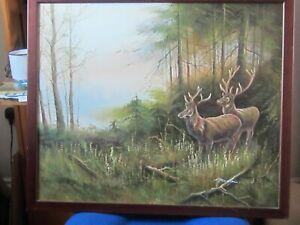 Original Oil of Deer in Woodland by Mueller