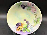 Antique JPL Limoges Flowers & Blackberries Gold Trim Hand Painted Plate Signed