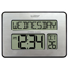 "513-1419 La Crosse Technology Large 2"" Numbers Atomic Digital Wall Clock IN Temp"