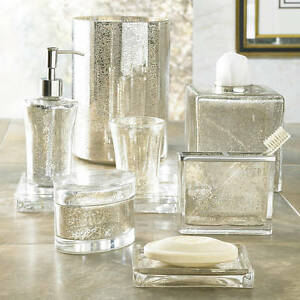 NEW Kassatex Vizcaya 8 pc Complete Bath Accessory Set Elegant Mercury Glass