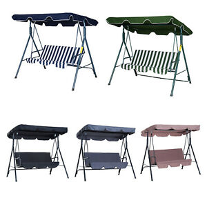 Hammock Swing Chair Backyard 3-Seater Adjustable Canopy Patio Black Outdoor