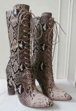 BNWOB Edwardian Victorian Black & Beige Snake-Effect Lace-up Boots Size 38 UK 5