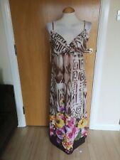 Ladies Dress Size 12 Brown Long Maxi Chiffon Floral Smart Holiday Summer