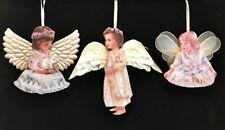 Heavens Little Angels Christmas Ornaments 3 Porcelain Bradford Editions 16 17 18