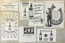 ORIGINAL ANTIQUE ADVERTS WHISKY USHERS BUCHANAN MACKINLAYS CHESKY ROBERTSONS