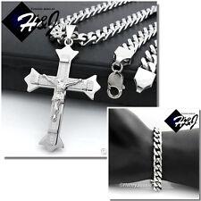"20""MEN Stainless Steel 9mm Silver Cuban Curb Necklace Bracelet Cross Pendant*J28"