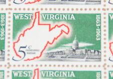 1963 sheet, West Virginia Centennial, Sc# 1232