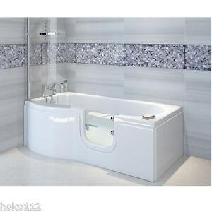 Badewanne mit Tür 167,5x85/75cm+Schürze+Ablauf,wahlweise auch mit Duschkabine