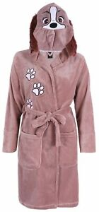 Brown, Hooded, Dressing Gown, Robe For Ladies LADY AND THE TRAMP DISNEY