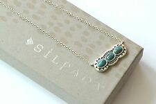 "Silpada NEW Sterling Silver ""Sail Away"" Turquoise Etched Danty Necklace N3247"
