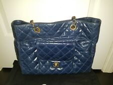 Chanel Handbag Genuine  Authentic Large Shopping Bag 30cm Navy Blue Used on 3x