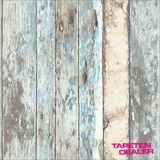 EUR 2,62/qm / Tapete GranDeco Exposed PE-10-01-2 / Holzoptik Shabby Chic Blau