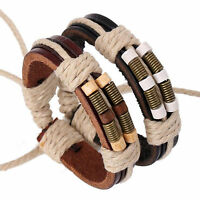Men's Leather Wrap Hemp Rope Bangle Surfer Cuff Wristband Bracelet Adjustable