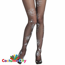 Adult Women's Halloween White Spider Web Tights Fancy Dress Costume Accessory