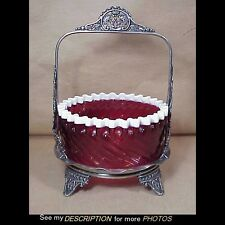Antique Victorian Hartford Silver Plate Cased Cranberry Swirl Brides Basket