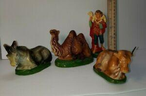 "Vintage Paper Mache Nativity 6"" Scale Italy Creche figures Shephard Boy Animals"