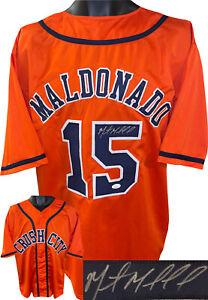 "Martin Maldonado signed Houston ""Crush City"" Orange Custom Stitched Jersey - JSA"