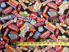 Retro Diner Signs Route 66 on Black  BY YARDS  Timeless Treasure Cotton Fabric