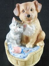 "San Francisco Music Box Co. Dog Cat Mouse Music Box Works 5"" High 3"" D Vgc"