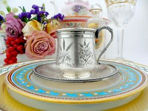 Antique French Sterling Silver cup and Saucer 1845-1882 Tonnelier
