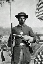 Civil War African American soldier Union uniform rifle revolver photo photograph