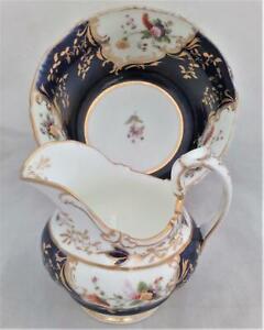 Coalport Bone China Jug & Bowl Mazarine Blue Pattern 2 279 circa 1830