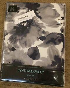 "NWT Cynthia Rowley Floral Gray Grey Navy Blue  60"" x 84"" Oblong Tablecloth"