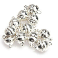 10pcs Silver Plated Strong Magnetic Clasps Round 10mm for Bracelets Jewelry AD