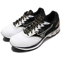 Mizuno Wave Rider 20 2E Wide Black White Gold Men Running Shoes J1GC17-0414