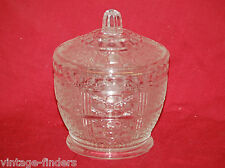 Vintage Pressed Clear Cut Glass Sugar Bowl Candy Dish w Lid Mid-Century EUC